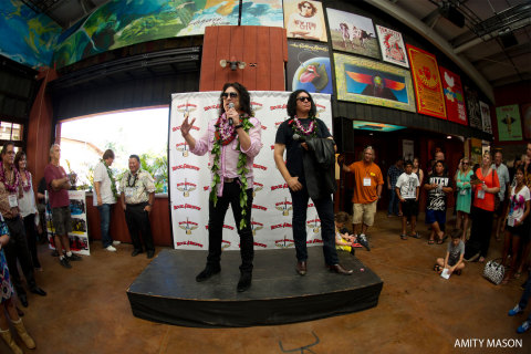 Gene Simmons and Paul Stanley of KISS were on Maui yesterday to offer a sneak preview of their newest Rock & Brews restaurant in Pa'ia. Pictured from left to right are Paul Stanley and Gene Simmons. (Photo: Business Wire)