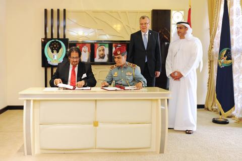 HH Sheikh Saif bin Zayed Al Nahyan while attending the signing of the MoU with the UNODC (Photo: Bus ...