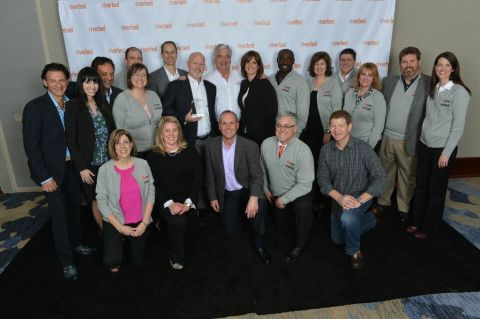 Riverbed leadership team presents Avnet Technology Solutions team with the Riverbed Technology Distr ...