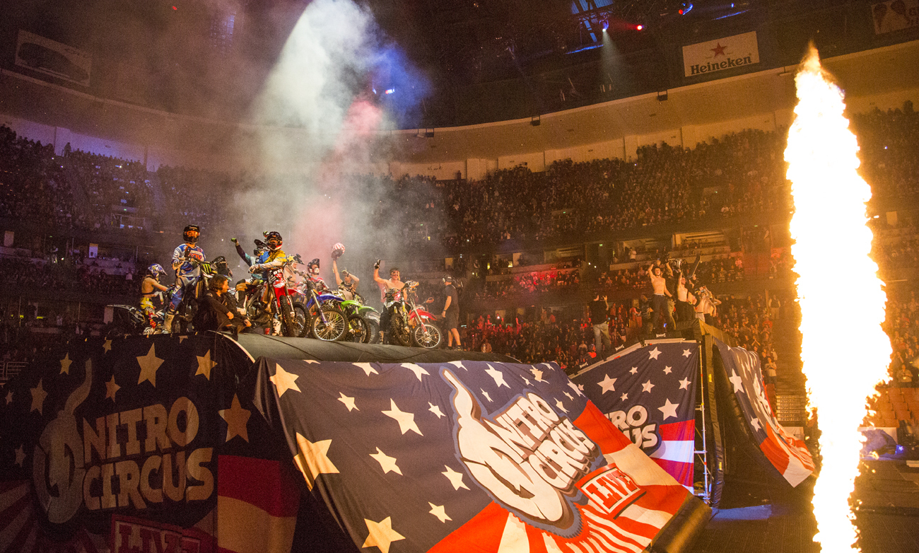 Nitro Circus Live, the global touring phenomenon featuring 40 of the world's best action sports athletes, wrapped its first North American tour by celebrating the 100th global show Sunday, January 26 at Anaheim's Honda Center. (Photo: Business Wire)