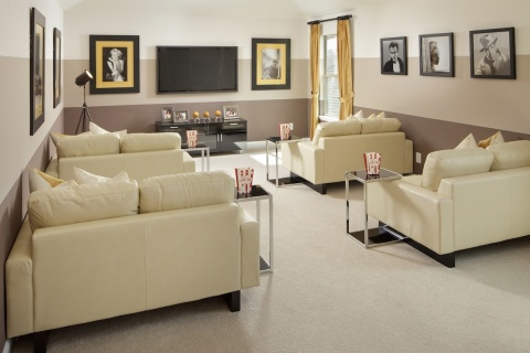 A media room like this one from KB Home's Anserra Preserve community in Katy, Texas is the perfect place for movie night or game day. (Photo: Business Wire)