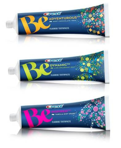 Crest Be will be available in Mint Chocolate Trek, Lime Spearmint Zest and Vanilla Mint Spark (Photo: Business Wire)