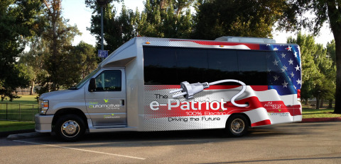 Green Automotive's new all electric shuttle bus, the e-PATRIOT (Photo: Business Wire)
