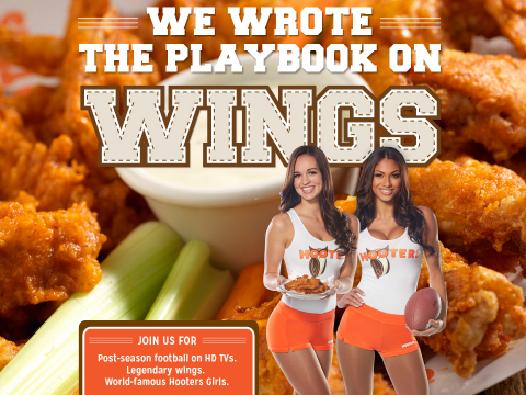Huddle up at Hooters for the Big Game, or place an order for wings to-go with awesome freebie deals, like a free Pepsi (R) 2-liter coupon that can be redeemed at participating retailers, while supplies last, and a coupon for either a free Hooters entree salad or a free order of fried pickles during your next visit. (Graphic: Business Wire)