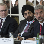 USIBC Hosts Ambassador S Jaishankar in Washington, DC. Left to Right: Ron Somers, President, USIBC; Ajay Banga, USIBC Chairman and President &am