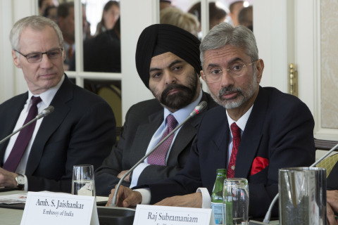USIBC Hosts Ambassador S Jaishankar in Washington, DC. Left to Right: Ron Somers, President, USIBC; Ajay Banga, USIBC Chairman and President & CEO, MasterCard; Dr. S Jaishankar, Ambassador of India to the United States. (Photo: Business Wire)