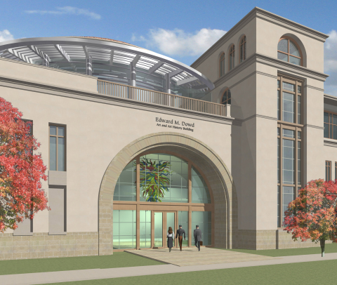 Rendering of a planned $26 million Edward M. Dowd Art and Art History Building at Santa Clara Univer ...