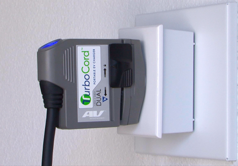 AeroVironment's portable, dual-voltage TurboCord™ transforms electric vehicle charging. It's easy to use, convenient and saves money. TurboCord fits in the palm of the hand, fully charges a plug-in hybrid in less than three hours and weighs less than five pounds. No charger installation is required. (Photo: Business Wire)