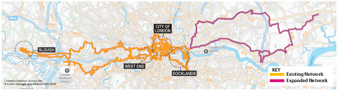 Zayo's existing London footprint and new expanded network to Basildon and Stratford region. (Photo:  ...