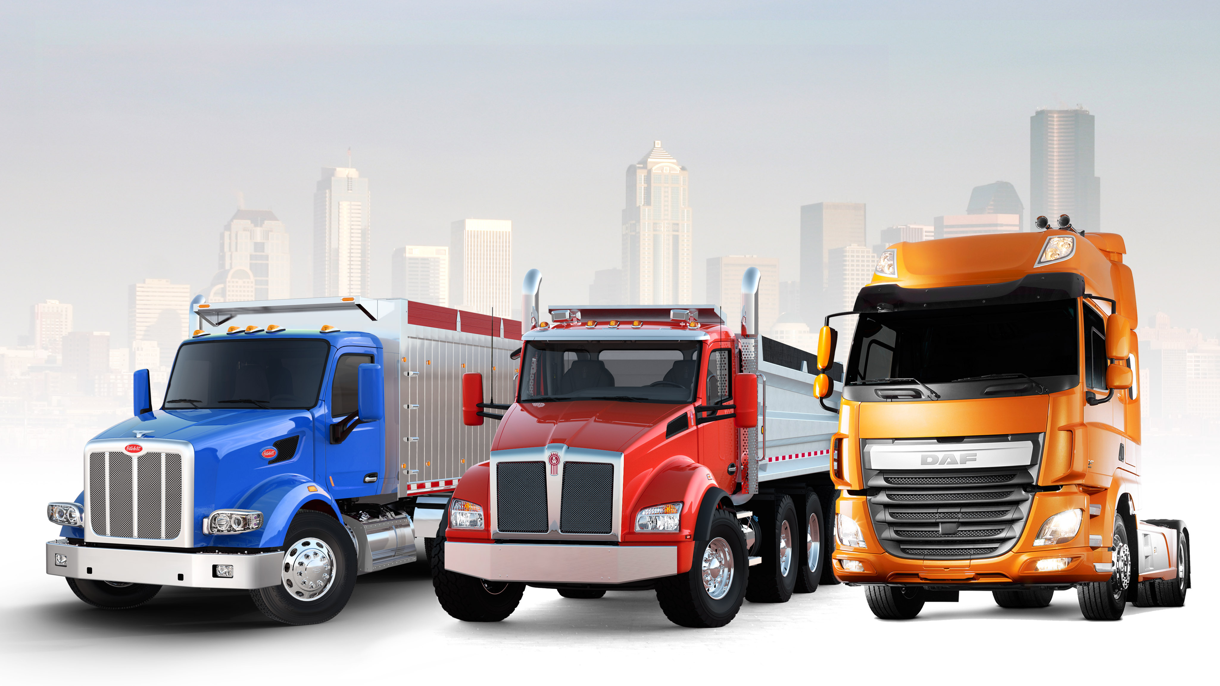 New Vocational Vehicles: Peterbilt Model 567, Kenworth T880 and DAF CF Euro 6 (Photo: Business Wire)