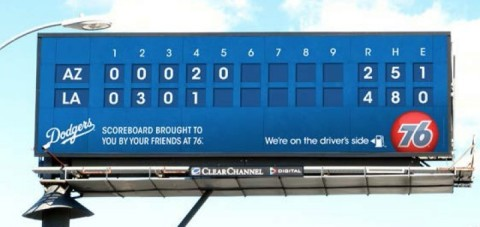 Advertising on Clear Channel Outdoor's digital billboards provides Dodgers scoreboard (Photo: Business Wire)