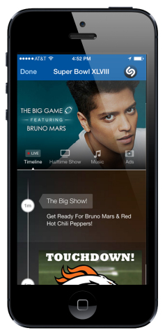 """Last night, we saw record levels of engagement with the Super Bowl with more than 700,000 Shazams of the game, with more than half of those happening during Bruno Mars' halftime show. Our timeline experience offered users the ability to replay the ads, catch all the new music as it was unveiled, and get exclusive content,"" said Rich Riley, CEO. ""We were excited to have partnered with Bud Light, Jaguar and Sonos on their advertising and with Bruno Mars, Atlantic Records and Warner Music Group on the halftime show."" (Photo: Business Wire)"