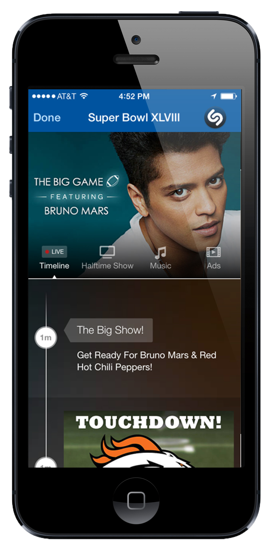 """""""Last night, we saw record levels of engagement with the Super Bowl with more than 700,000 Shazams of the game, with more than half of those happening during Bruno Mars' halftime show. Our timeline experience offered users the ability to replay the ads, catch all the new music as it was unveiled, and get exclusive content,"""" said Rich Riley, CEO. """"We were excited to have partnered with Bud Light, Jaguar and Sonos on their advertising and with Bruno Mars, Atlantic Records and Warner Music Group on the halftime show."""" (Photo: Business Wire)"""
