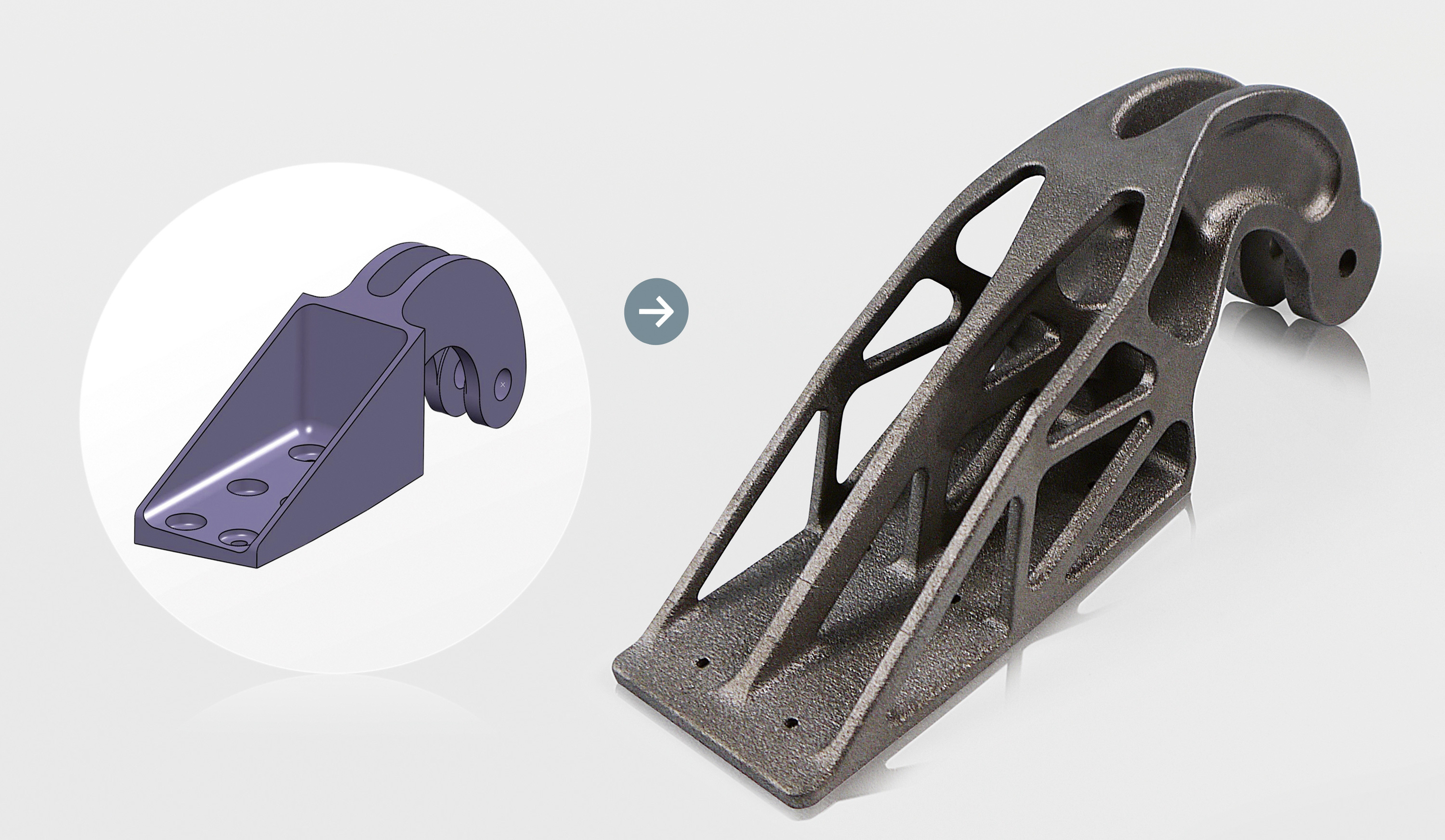 Conventional design of the steel cast bracket (left) that was environmentally assessed against the corresponding topology-optimized design of the EOS titanium AM-made bracket (right). Source: Airbus Group Innovations.