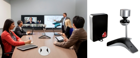 Around-the-table group video experience: Polycom CX5100 is an optional, 360-degree, panoramic 1080p HD video collaboration camera for the Polycom CX8000 room system for Microsoft Lync (Photo: Business Wire)