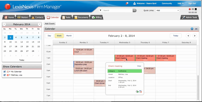 The Firm Manager dashboard is a view of all the appointments, meetings, tasks and deadlines an attorney might have for a period of time of their choosing. The full calendar view works how attorneys expect it to. It is simple to use, powerful in its ability to show where you need to be, and when you need to be there.(Graphic: Business Wire)