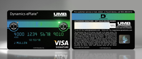 The Dynamics ePlate® Visa® Card Issued By UMB (Photo: Business Wire)