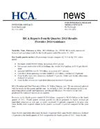 HCA Reports Fourth Quarter 2013 Results