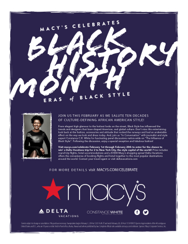 """Macy's celebrates """"Eras of Black Style"""" in commemoration of Black History Month (Graphic: Business Wire)"""