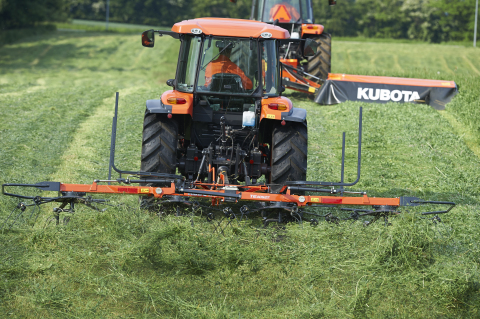 Kubota introduces the TE4052T rotary tedder, designed to optimize performance for producing dry hay. The pull-type design with a low weight of 904 lbs. is ideal for low-horsepower tractors or on hilly terrain. (Photo: Business Wire)