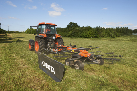 """Kubota's first pull-type rotary rake, the RA1042T, has a working width of 13'9"""" and is fitted with 11 tangential tine arms and four double tines per arm and is ideal for low-horsepower tractors. (Photo: Business Wire)"""