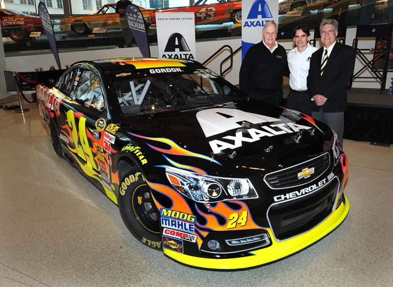 Rick Hendrick, Jeff Gordon, and Nigel Budden pictured with No. 24 Axalta Chevrolet SS (Photo: Business Wire)