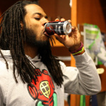 Richard Sherman is just as quick finishing a special can of Coke Zero as he is on the field. (Photo: Business Wire)