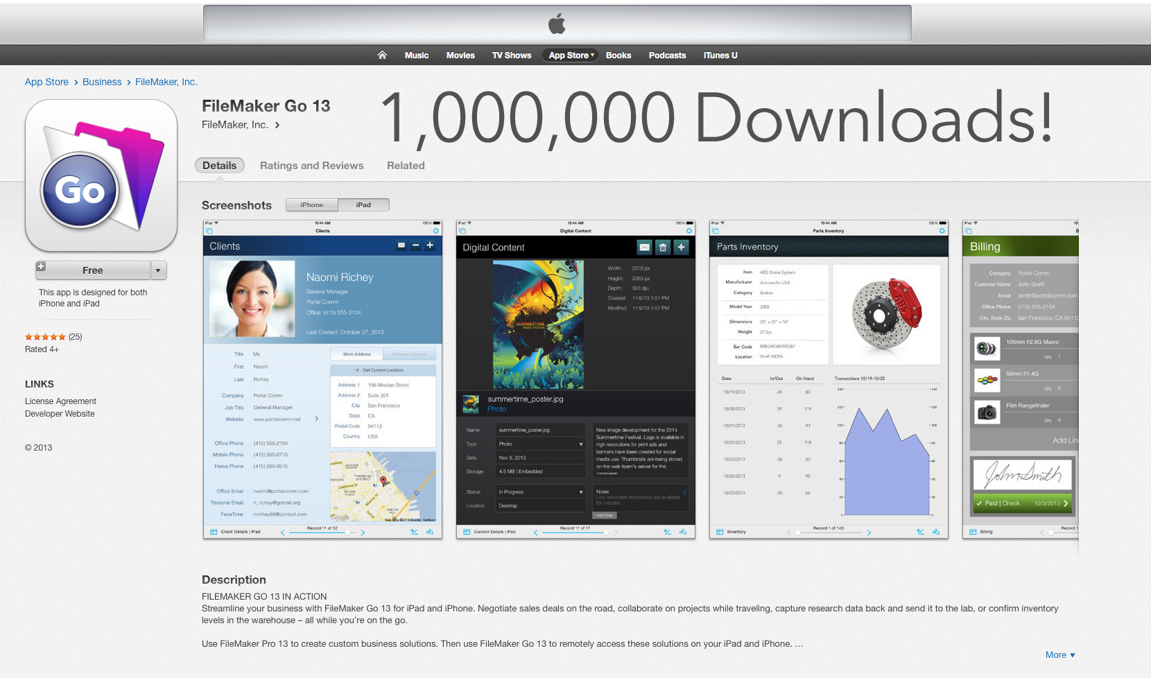 FileMaker Go for iPad and iPhone Apps Surpass 1 Million