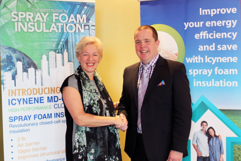 MJM Energy owner, Jamie Muirhead discusses business growth within Atlantic Canada with Icynene board member Annette Verschuren.