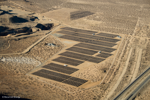 The Recurrent Energy developed 5 MWp Rio Grande project is the smallest in a six solar PV project portfolio acquired by Google and KKR in November 2013. The Rio Grande project sits on 50 acres of vacant desert land located next to an old mine. (Photo: Business Wire)