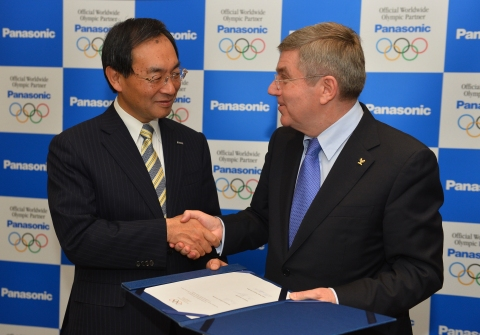 Kazuhiro Tsuga, President of Panasonic, and Thomas Bach, President of the IOC at the Signing Ceremon ...