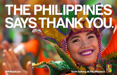 "In a show of appreciation, on February 8, the Philippines will launch a global ""Thank You"" campaign around the world to express its gratitude for the outpouring of support following the devastating effects of Typhoon Haiyan which hit three months ago. Using eye-catching images like this, and through social media, the Philippines encourages everyone to use the hashtag #PHthankyou to continue sharing their support and appreciation. (Photo: Business Wire)"