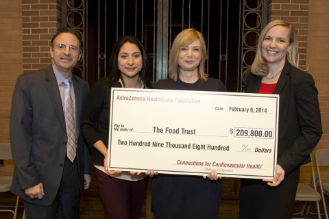 From left to right: Howard Hutchinson, M.D., FACC, Trustee of the AstraZeneca HealthCare Foundation; Brianna Sandoval, Senior Associate at The Food Trust; Yael Lehmann, Executive Director of The Food Trust and Emily Denney, Vice President of the AstraZeneca HealthCare Foundation at a ceremony today for the presentation of a grant for $209,800 to The Food Trust from the AstraZeneca HealthCare Foundation. The event took place at Thomas Jefferson University Hospital in Philadelphia, Pa. The AstraZeneca HealthCare Foundation has announced grants totaling nearly $3.7 million to 19 U.S.-based nonprofit organizations across the country dedicated to improving cardiovascular health in local communities. (Photo: Business Wire)