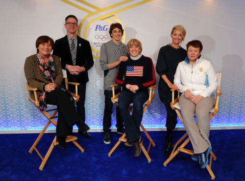 Tide athlete, Nick Goepper (USA), Pampers athlete Oksana Domnina (RUS) join their moms, with Rosi Mittermaier, double Olympic gold medalist and mom of Gillette athlete Felix Neureuther (GER), and P&G Global Design Officer Phil Duncan to officially open and welcome moms and families of Olympians around the world to the P&G Family Home at the Sochi 2014 Olympic Winter Games. (Photo: Getty Images)