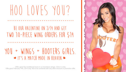 HOO loves you this Valentine's Day? Hooters is spreading the love to its loyal fans with a sweetheart deal of two 10-piece orders of its world-famous wings for just $14. Everyone has a valentine at Hooters!  (Graphic: Business Wire)
