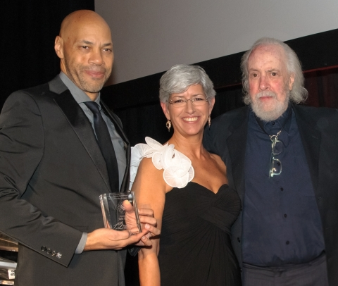USC Libraries 2014 Scripter Award winner John Ridley with Dean of the USC Libraries Catherine Quinlan and Scripter Literary Achievement Award winner Robert Towne. (Photo Credit: Ron Murray)