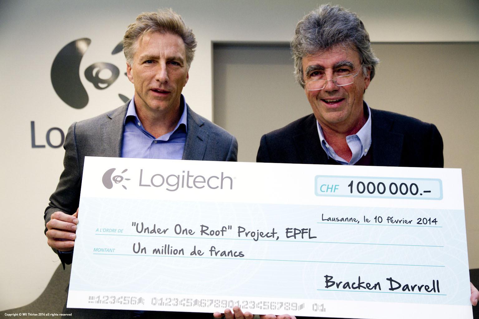 Bracken Darrell, CEO and president of Logitech, and Patrick Aebischer, president of EPFL. (Photo: Business Wire)