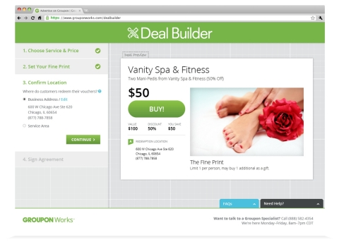 Deal Builder is now available to almost every local business in the United States. To begin the process, merchants fill out their basic information, and then choose the right deal structure and discount for their business. Once a merchant is finished, and they have opportunity to review the final product, they e-sign their contract and the deal goes live after a short review process. (Photo: Business Wire)
