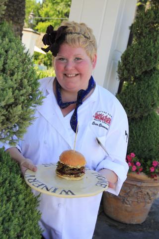 2012 Sutter Home Build a Better Burger Winner Erin Evenson with her winning burger (Photo: Business Wire)