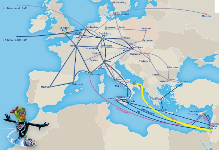 Bezeq International's submarine cable JONAH, highlighted in yellow (Graphic: Business Wire)