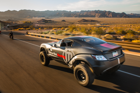 Local Motors Rally Fighter wearing custom-designed MakerBot Racing vinyl wrap, and featuring parts 3D-printed using a MakerBot Replicator2. (Photo: Business Wire)