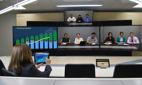 New immersive collaboration studio from Polycom makes an ideal think-tank for meetings, creative brainstorms or crisis management sessions. (Photo: Business Wire)