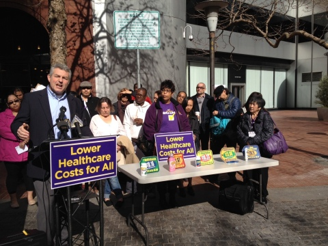 SEIU-UHW President Dave Regan joins healthcare workers and patients to shine a light on outrageous hospital costs, announce new ballot initiatives to protect community. (Photo: Business Wire)