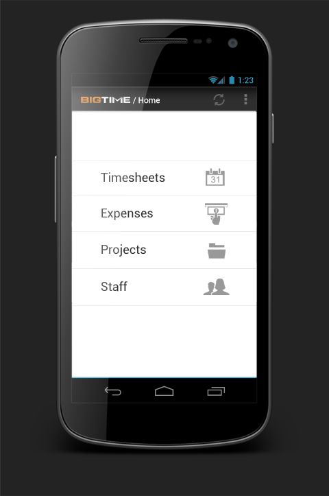 BigTime Mobile, the award-winning mobile app from BigTime Software, is now available for Android. It allows accountants, engineers and other professional services users to access pro-level time tracking, expense entry and project management tools conveniently and on-the-go. (Photo: Business Wire)