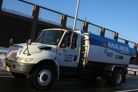 A truck from Majka and Sons, Inc. carries product from REG's terminal location in Clifton, New Jersey, one of eight locations in the northeastern U.S. where REG Energy Services, LLC is now selling petroleum-based heating oil, ULSD and biofuel blends. (Photo Courtesy REG)