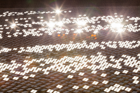 As seen from the top of Tower 1 just below the boiler section, heliostats reflect sunlight toward the tower's top at the Ivanpah Solar Electric Generating System. (Photo: Business Wire)