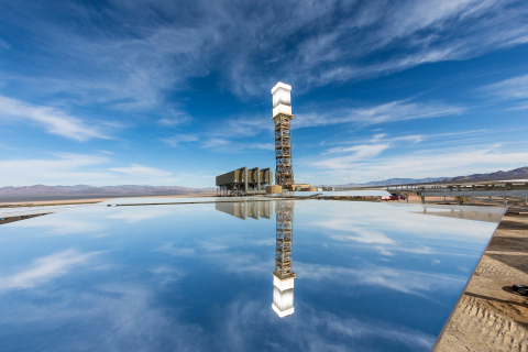 A view of the Ivanpah Solar Electric Generating System tower 1 and power block from the solar field. Each tower is 459 feet tall, 150 feet taller than the Statue of Liberty. (Photo: Business Wire)