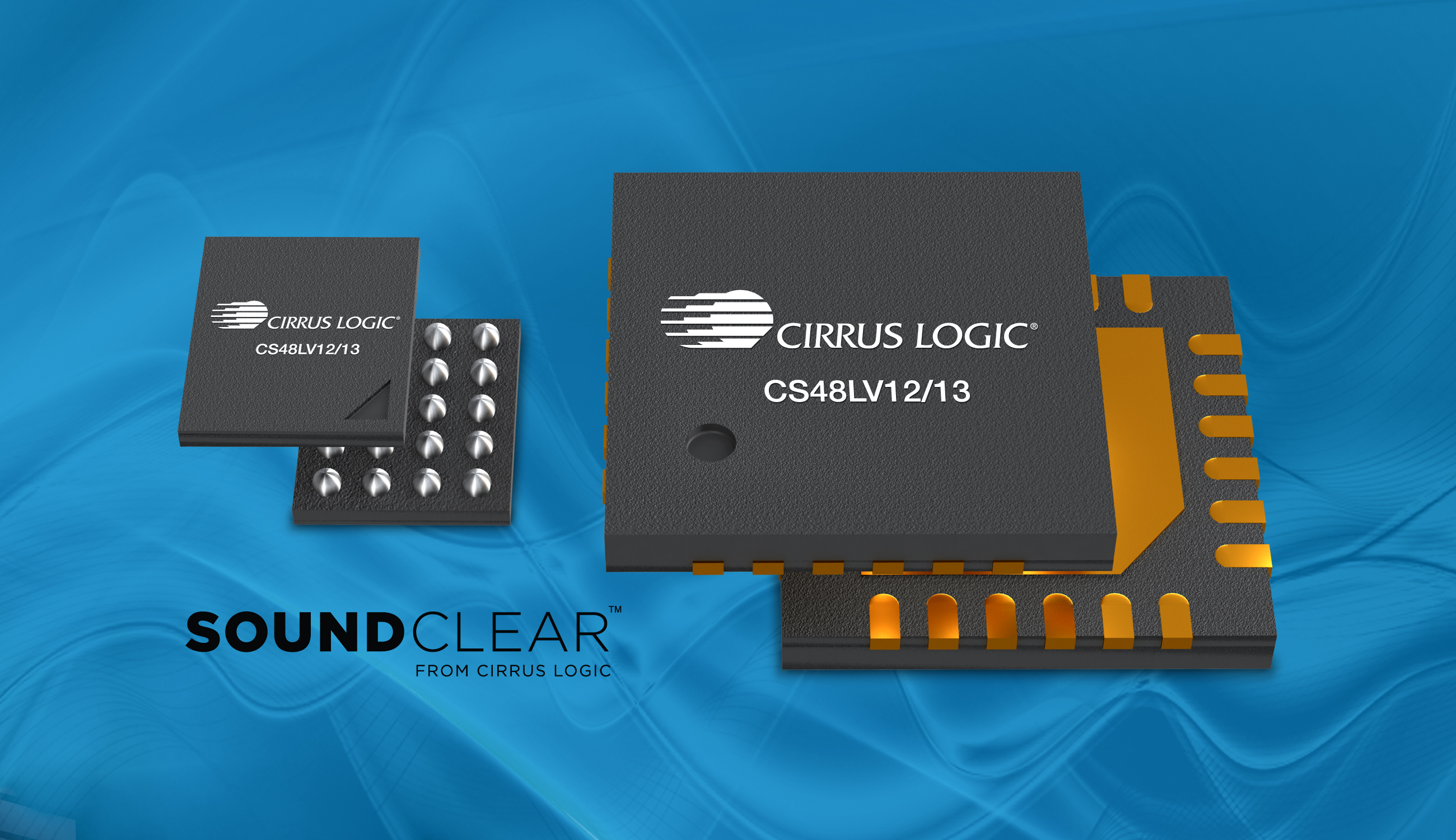 Cirrus Logic's new CS48LV12/13 voice processors with SoundClear(TM) technology. (Photo: Business Wire)