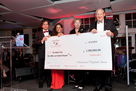 Daniel E. Straus and Elizabeth Straus of CareOne present a $1.1 million check to The Valerie Fund co-founders Ed and Sue Goldstein. (Photo: Business Wire)