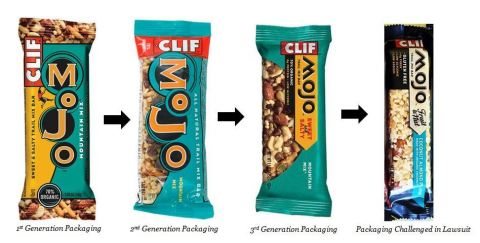 The evolution of Clif Mojo packaging, from left to right. (Photo: Business Wire)